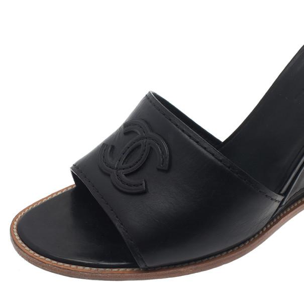 Chanel Black Leather CC Wedge Slides Size 40