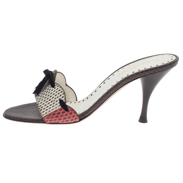Saint Laurent Paris Brown Python Embossed Slides Size 39