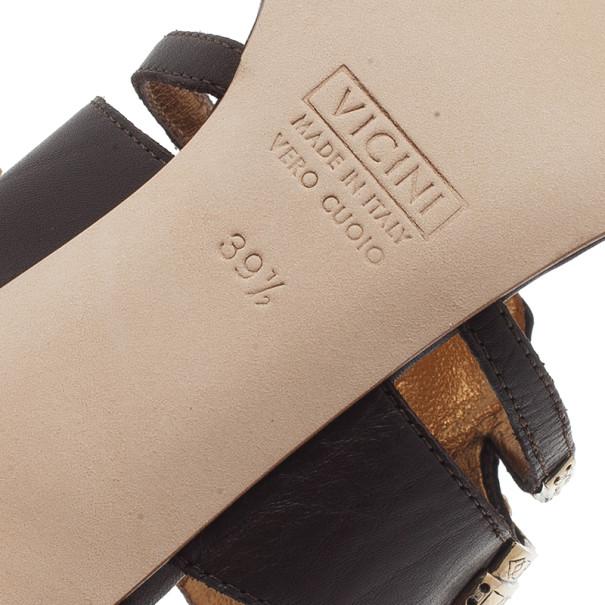 Giuseppe Zanotti Brown Leather Jeweled Mules Size 39.5