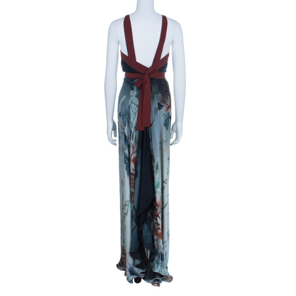 Roberto Cavalli Grey Chiffon Printed Maxi Dress M
