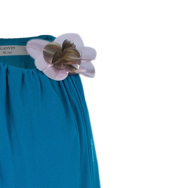 Lanvin Blue Silk Halterneck Floral Brooch Gown L