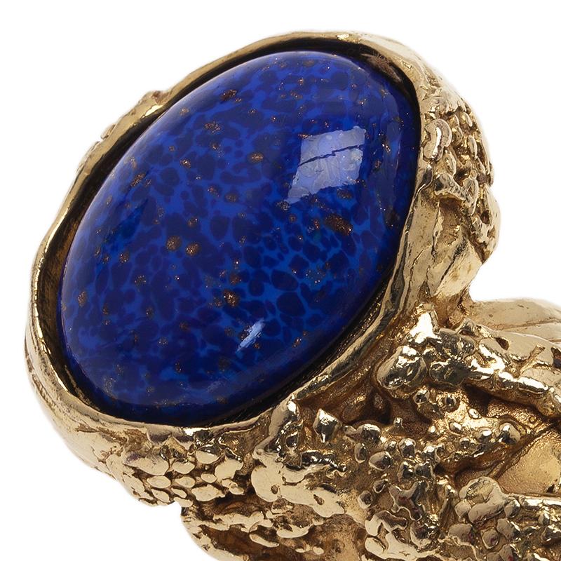Saint Laurent Paris Gold Arty Ring Blue Stone Size 54.5