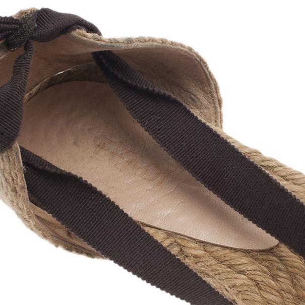 Fendi Tobacco Zucca Tie Detail Flat Espadrilles Size 37