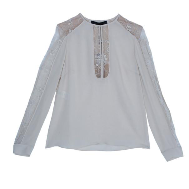 Elie Saab Cream Silk Lace-Detailed Tunic S