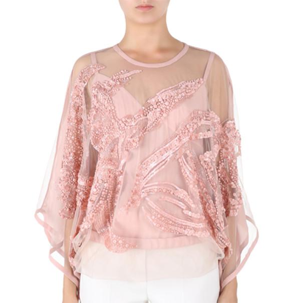 Elie Saab Pink Semi-Sheer Embroidered Top S