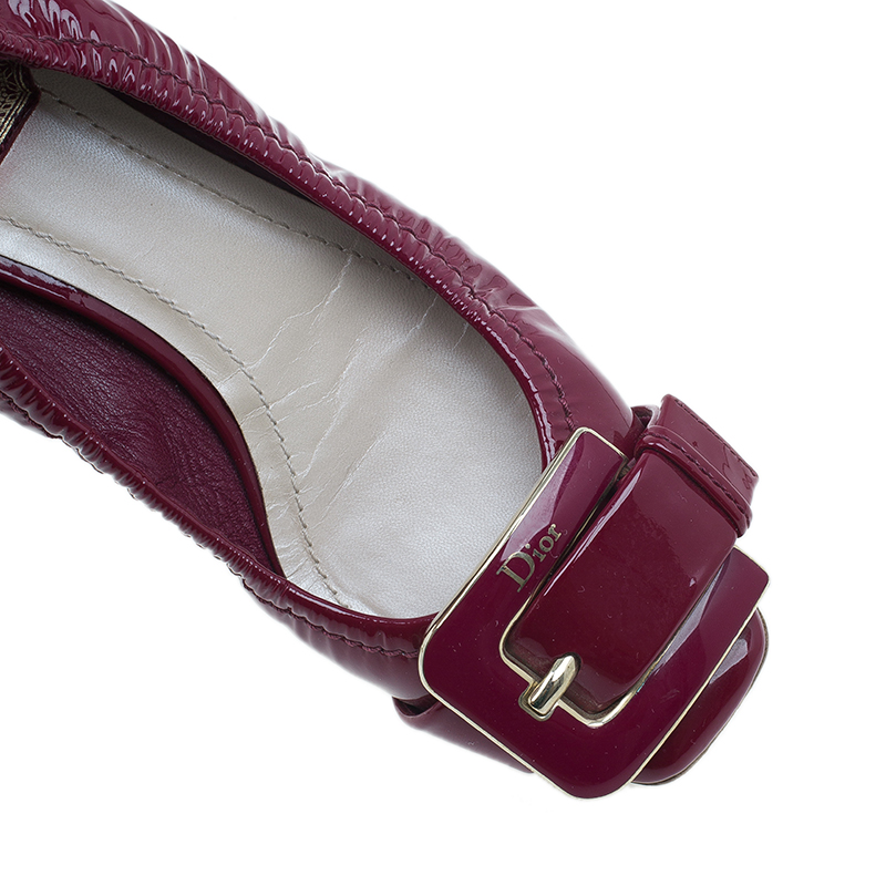 Dior Pink Patent Buckle Ballet Flats Size 36.5