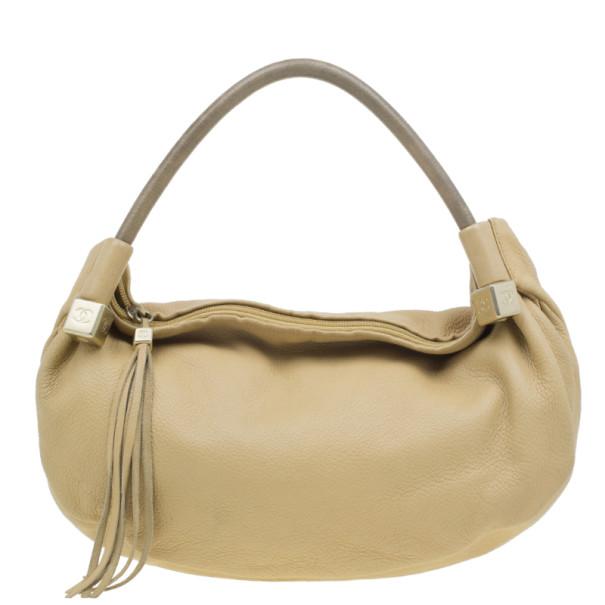 Chanel Beige Leather Tassel Hobo