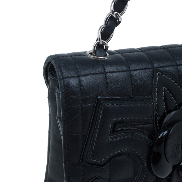 Chanel Black Lambskin Camelia No.5 Flap Bag