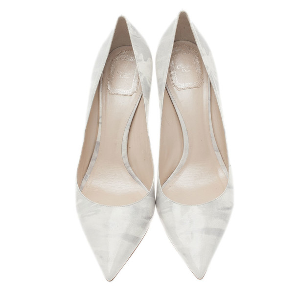 Dior Grey Shaded Patent Calfskin Pointed Toe Pumps Size 40