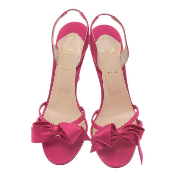 Christian Louboutin Pink Satin Grusanda Bow Sandals Size 39.5