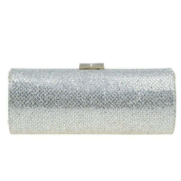Jimmy Choo Gold Fabric Glitter Twill Tube Clutch