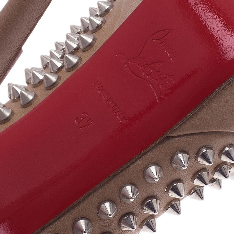 Christian Louboutin Beige Leather Bianca Spiked Platform Pumps Size 37