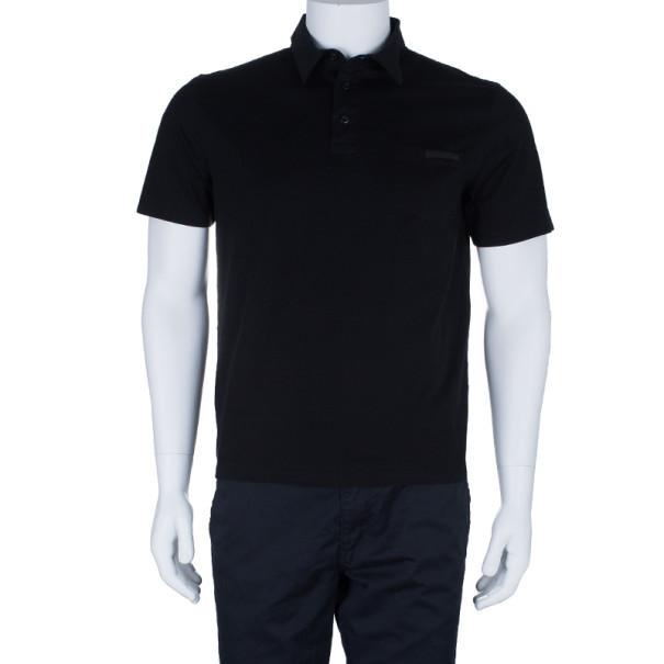 Prada Men's Black Cotton Polo Shirt L