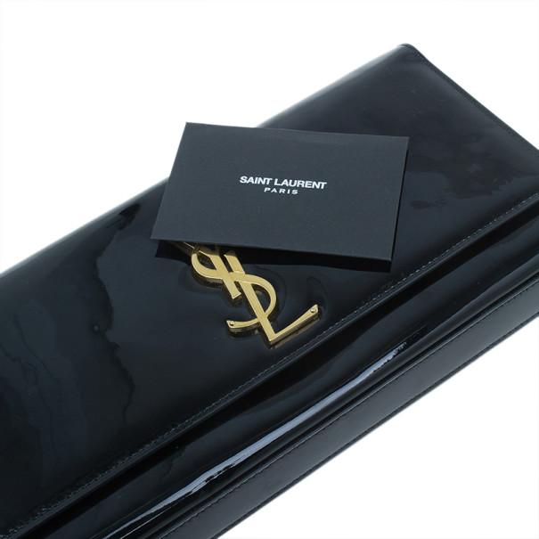 Saint Laurent Paris Black Nude Patent Belle De Jour Clutch
