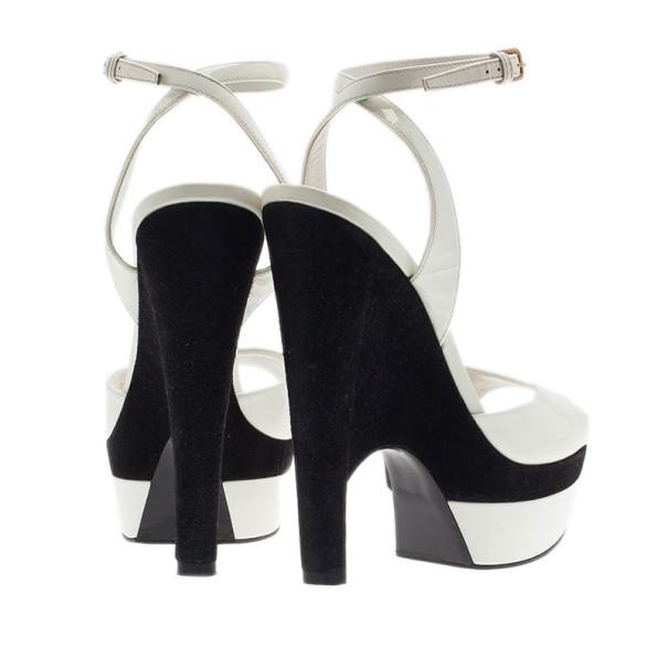 Saint Laurent Paris White Leather Cassyopee Ankle Strap Wedge Sandals Size 38