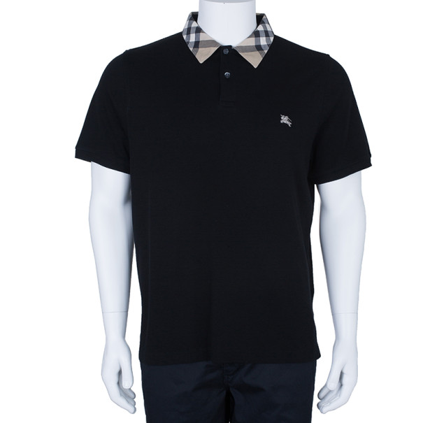 Burberry Men's Black Novacheck Collar Polo Shirt XL