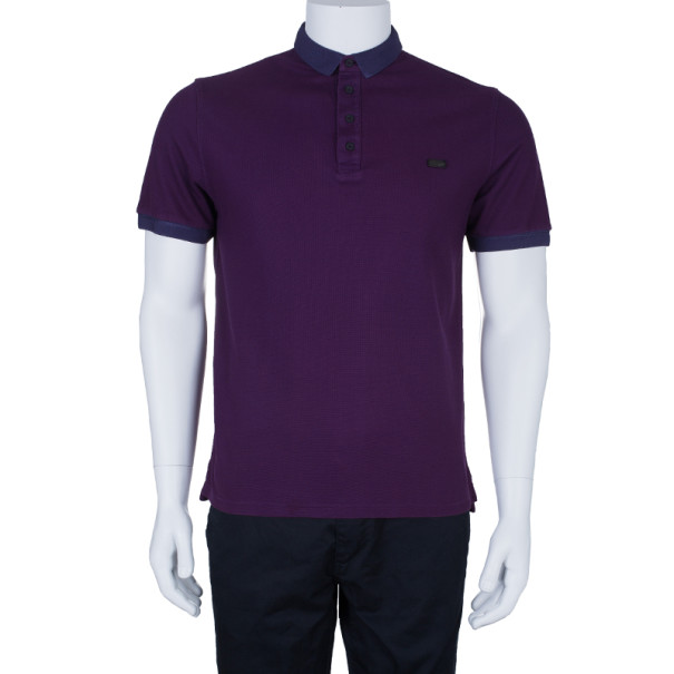 Burberry Men's Purple Cotton Pique Polo Shirt L