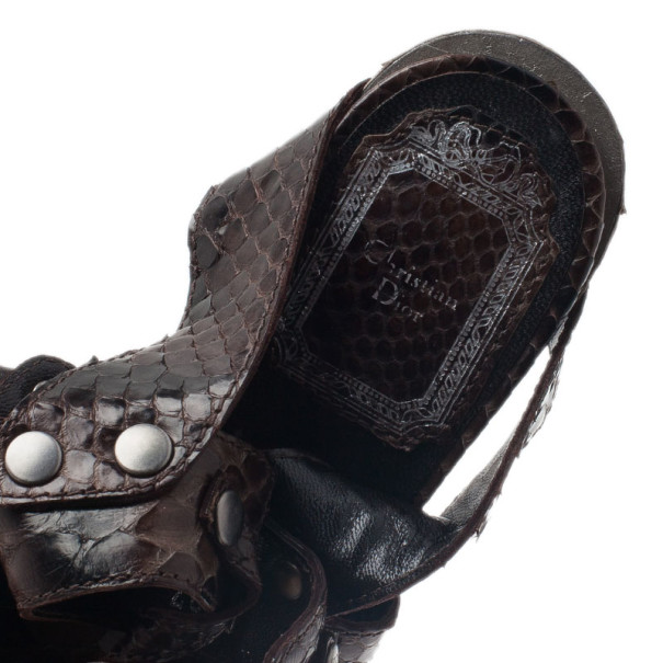 Dior Black Python Embossed Leather Extreme Cutout Sandals Size 36