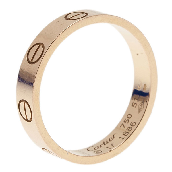 Cartier Love 18K Rose Gold Wedding Band Ring Size 51