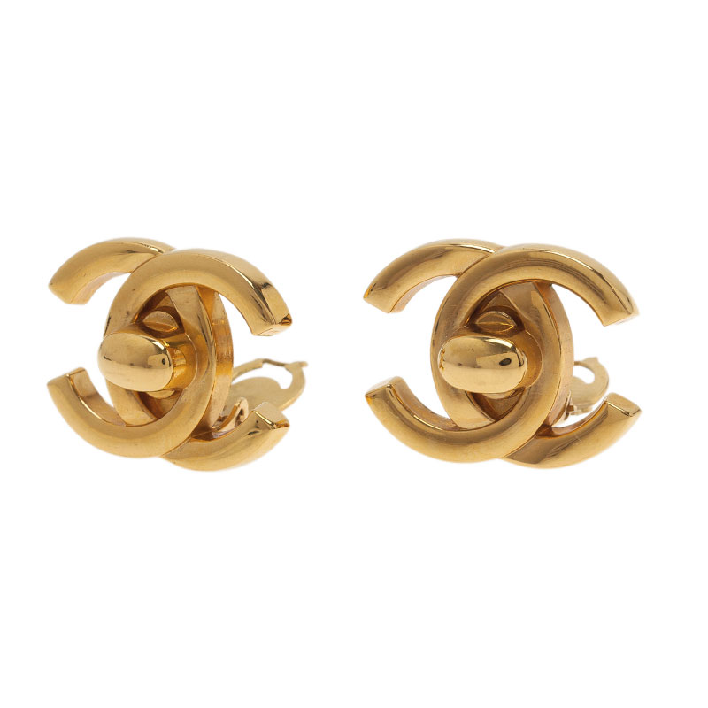Chanel CC Gold Tone Clip Earrings