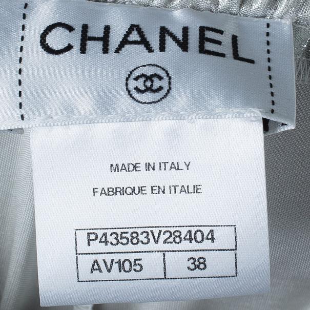 Chanel Silver Lamé Drawstring Maxi Skirt M