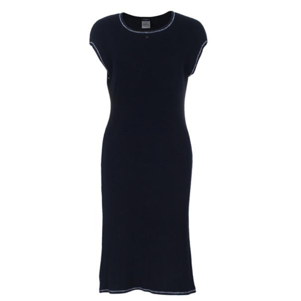 Chanel Black Sleeveless Rib Knit Dress M