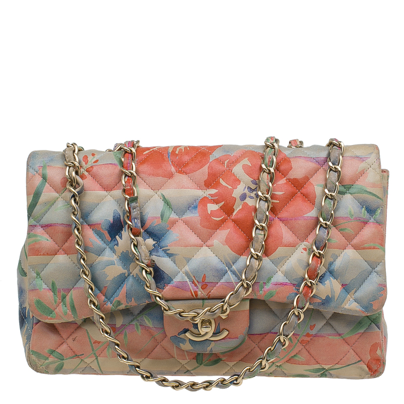 Chanel Floral Print Leather Jumbo Classic Single Flap Bag