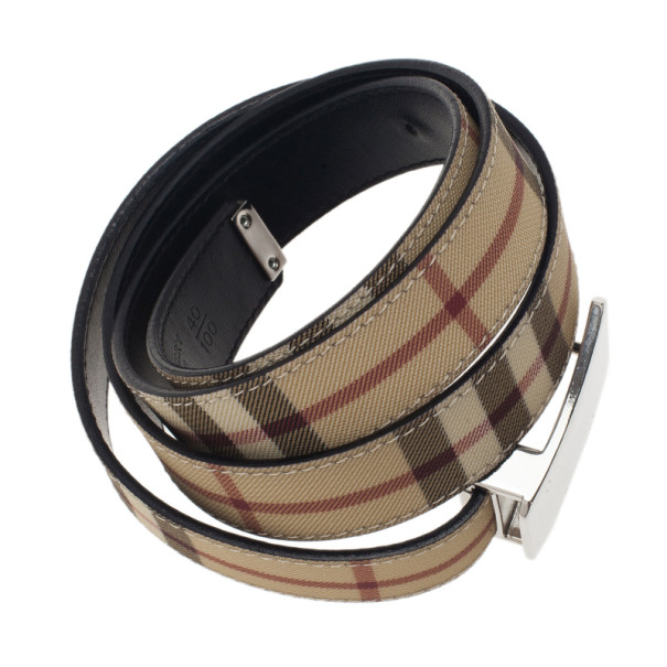 Burberry Novacheck Canvas Logo Plaque Belt 100CM