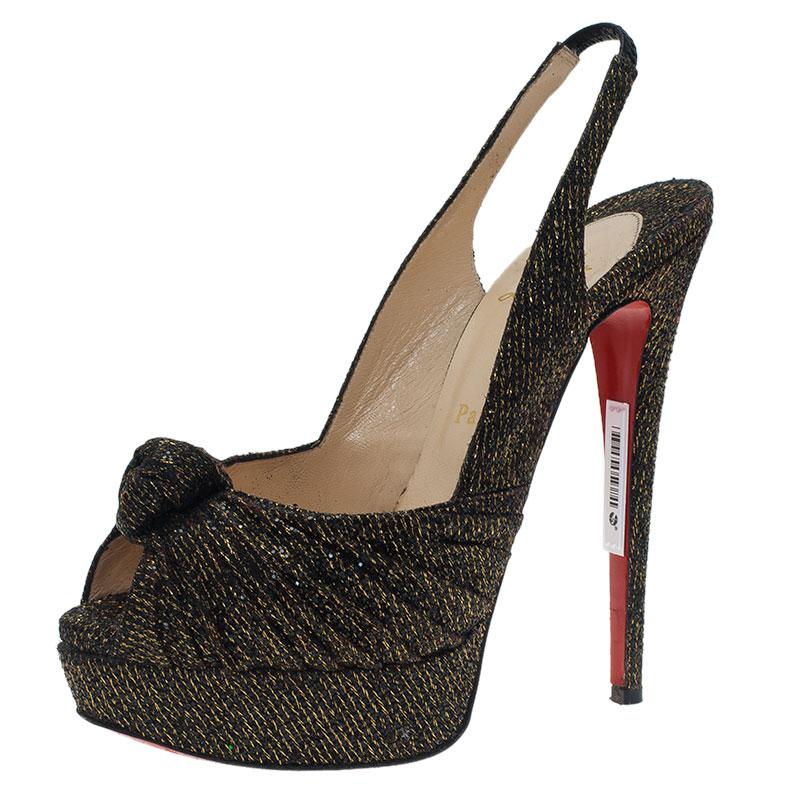 Christian Louboutin Black and Gold Jenny Platform Slingback Sandals Size 38