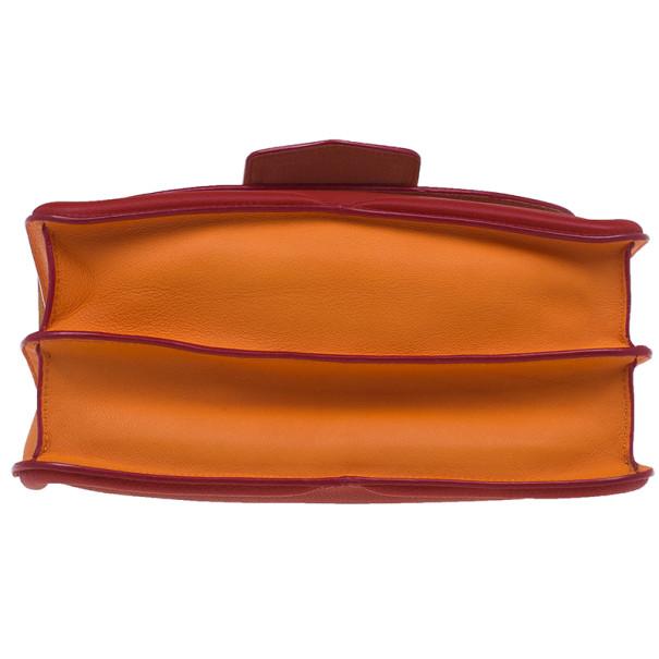 Alexander McQueen Red and Orange Leather Heroine Chain Satchel
