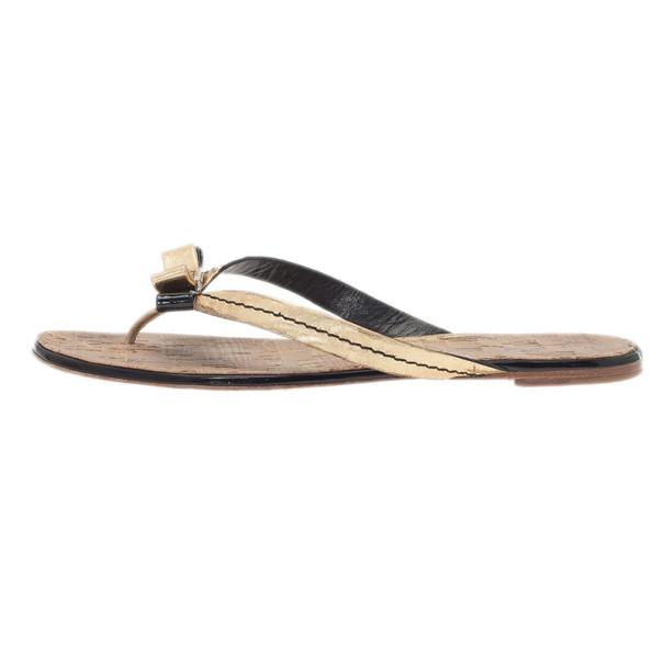 Carolina Herrera Gold Leather Thong Sandals Size 40