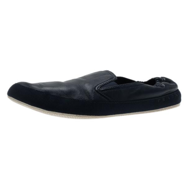 Prada Sport Navy Leather Loafers Size 43