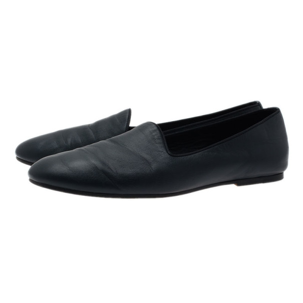 Hermes Blue Leather Gaspard Loafers Size 42