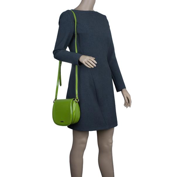 Burberry Green Patent Leather Shoulder Bag