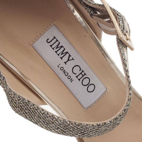 Jimmy Choo Glitter Fabric Mary Jane Pumps Size 40