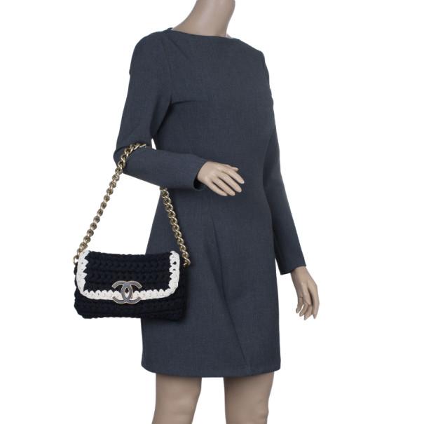 Chanel Black Fancy Crochet Black Flap Bag