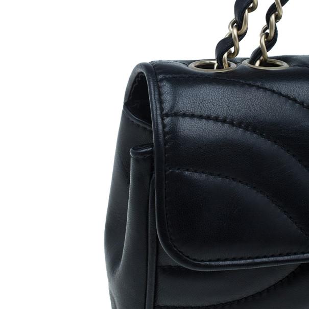 Chanel Black Lambskin Chevron Flap Bag