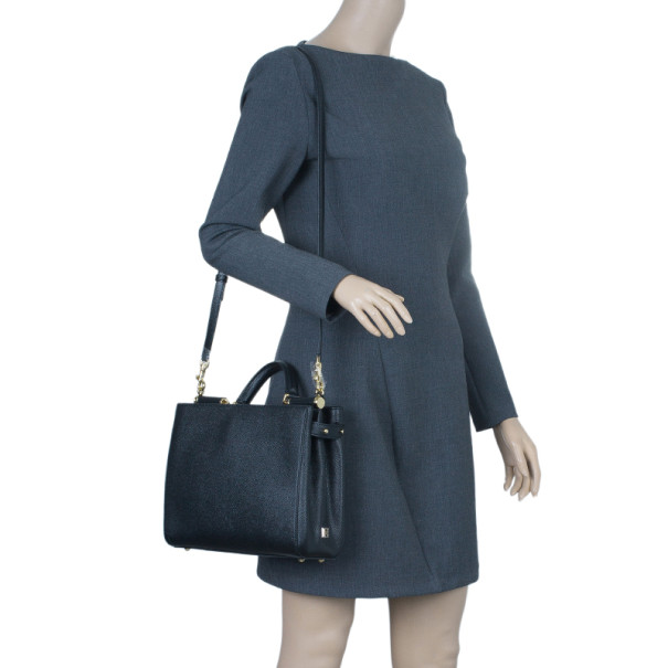 Dolce and Gabbana Black Leather Miss Sicily Tote