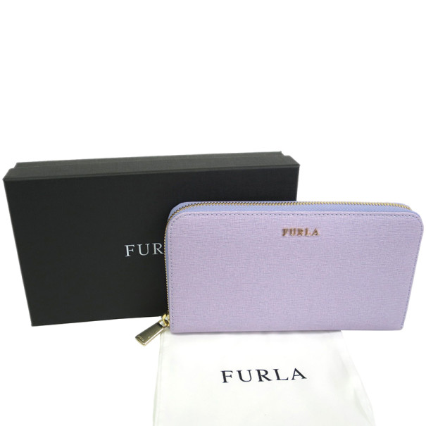 Furla Purple Leather Zip Around Contential Wallet