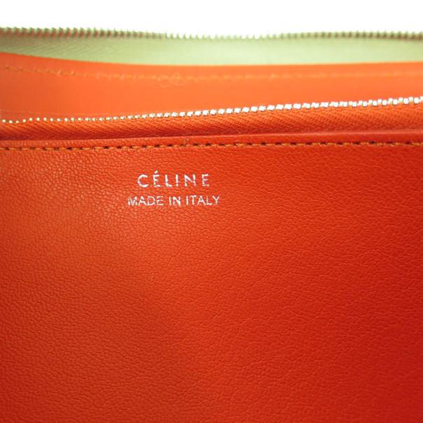 Celine Grege Leather Round Zippy Wallet