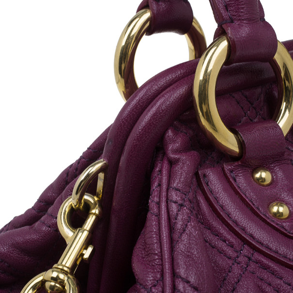 Marc Jacobs Purple Quilted Leather Stam Satchel