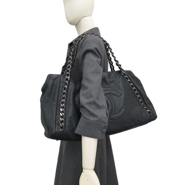 Chanel Black Calfskin Luxury Chain Tote
