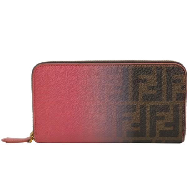 Fendi Pink Leather Ombre Zip Around Contential Wallet