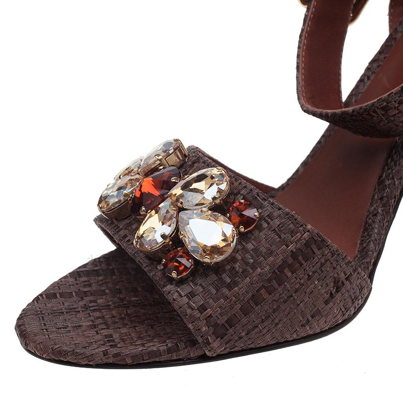Dolce and Gabbana Beige Jeweled Raffia & Snakeskin Sandals Size 40