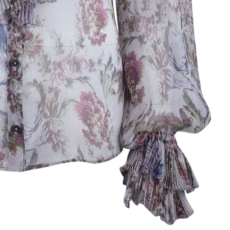 Dolce and Gabbana Floral Chiffon Pleated Blouse M