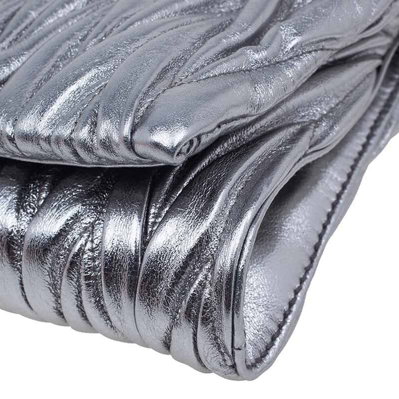 Miu Miu Metallic Silver Leather Azalea Matelasse Pochette