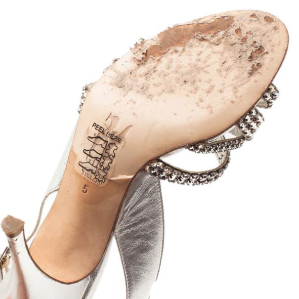Gina Silver Crystal Slingback Sandals Size 38