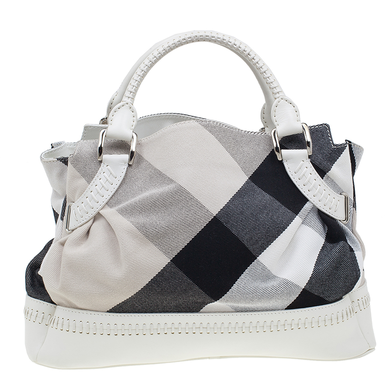 Burberry White Canvas Baby Check with Leather Stitches Tote