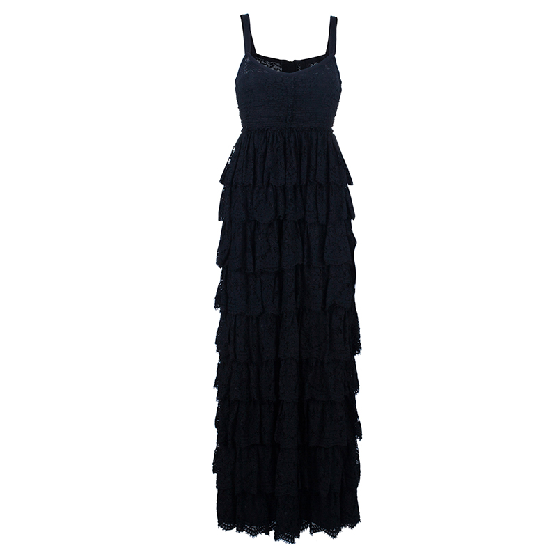 D and G Ruffle Tiered Lace Maxi Gown S