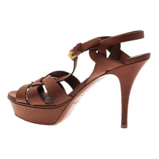 Saint Laurent Paris Brown Leather Tribute Platform Sandals Size 37